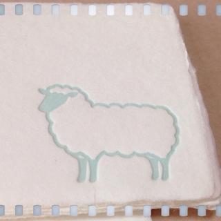 羊のレタプレ和紙カードのアップ